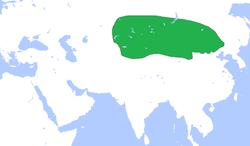 Büyük Hun İmparatorluğu konumu.