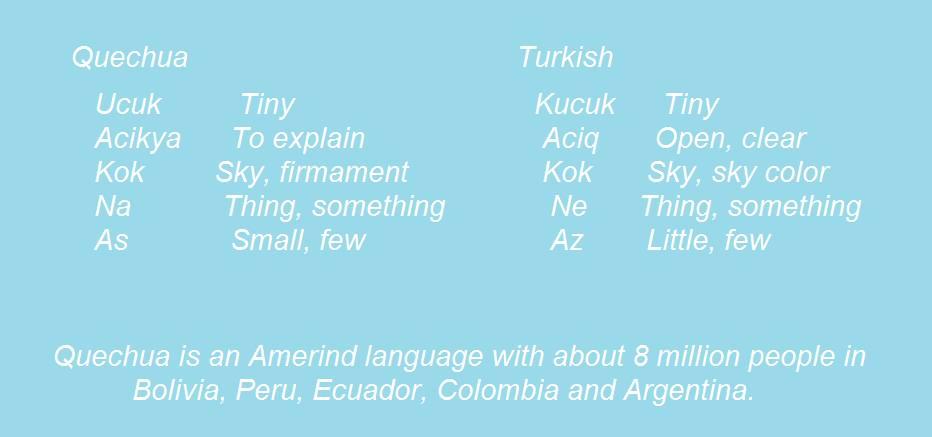 Güney Amerika yerli dili örnekleri