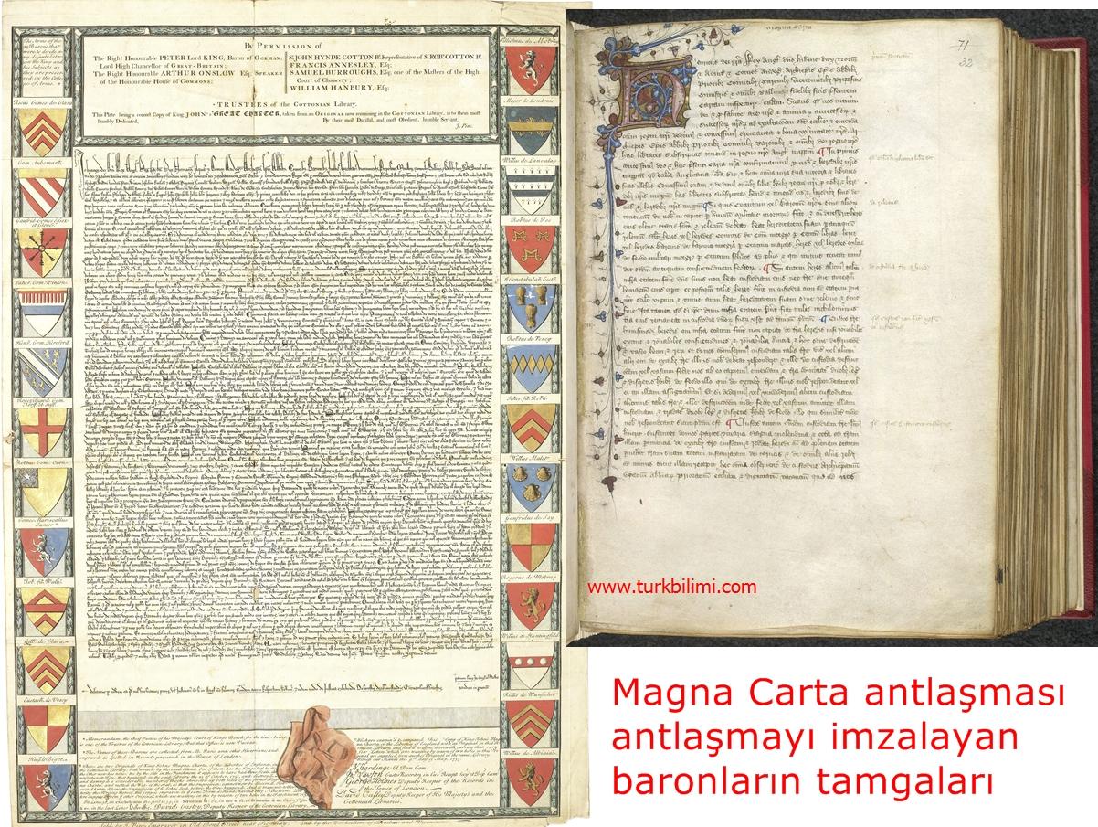 Magna Carta antlaşması antlaşmayı imzalayan baronların tamgaları-Armaları