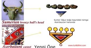 Sumer Oğuz boğa başındaki tamga Azerbaycan halısında