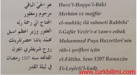 Kalafat Mehmet Paşa. yazıtı
