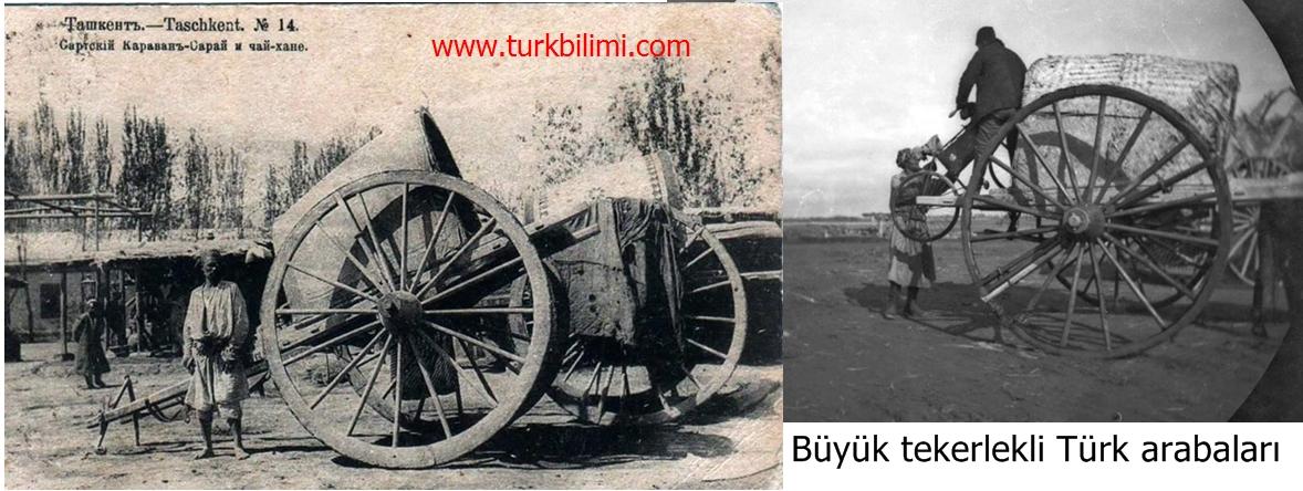 Büyük tekerlekli Türk arabaları.