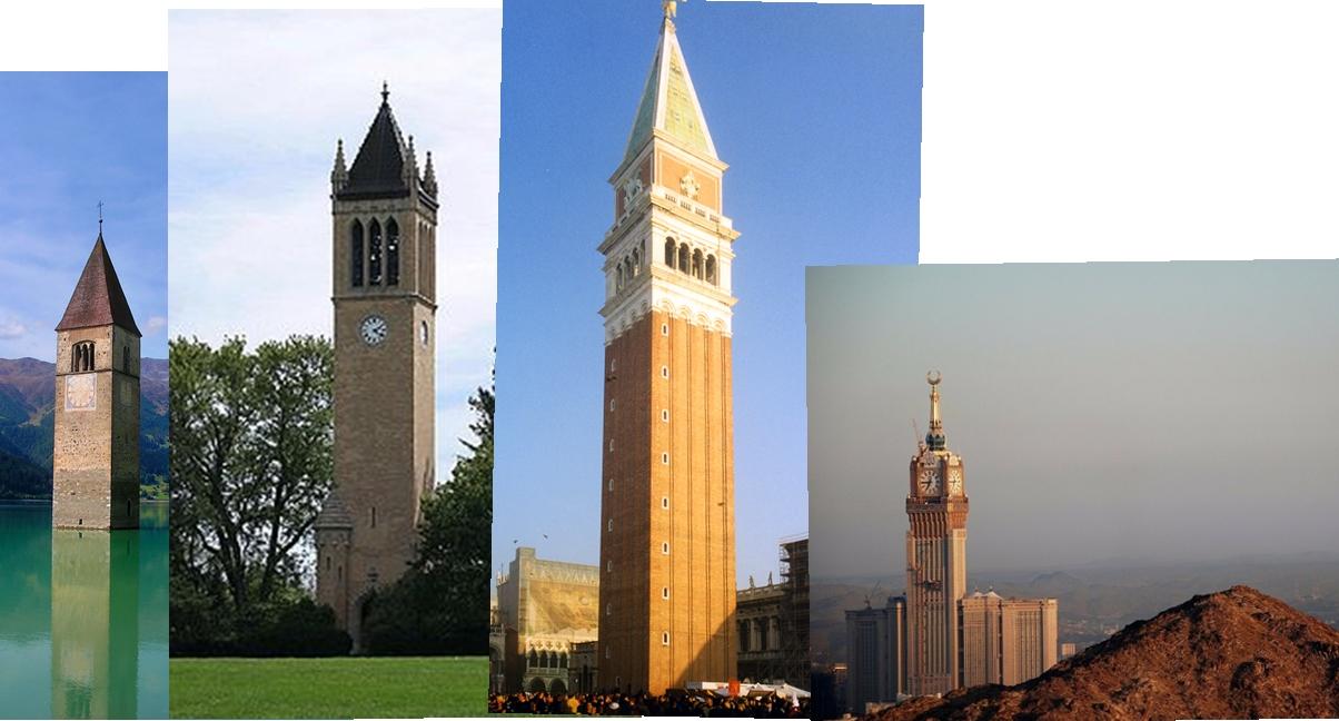 Çeşitli çan-saat kuleleri