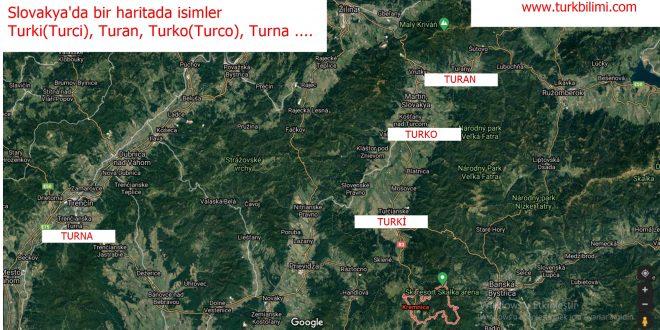 Avrupa'nın ortasında Slovakya'da bir haritada isimler; Turki, Turan, Turko